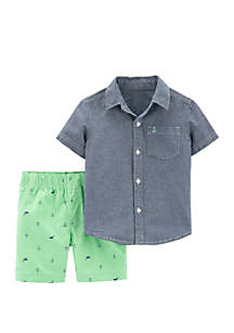 Carter's® Baby Boys 2-Piece Chambray Button-Front Top and Schiffli Short Set