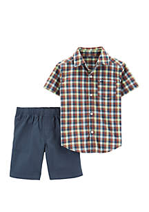 Carter's® Baby Boys 2 Piece Plaid Button Front Top and Canvas Short Set