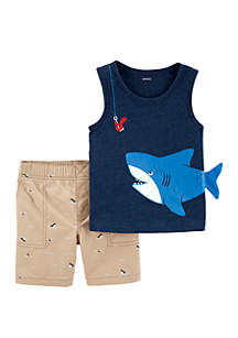 Carter's® Baby Boys 2 Piece Shark Snow Yarn Tank and Canvas Shorts Set