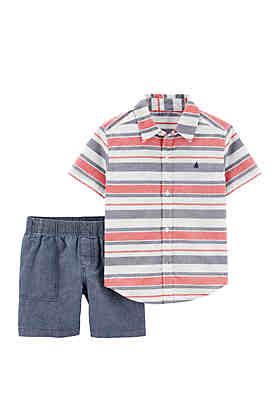 8102ca23e Carter s® Baby Boys 2 Piece Striped Button Front Top and Chambray Shorts Set  ...