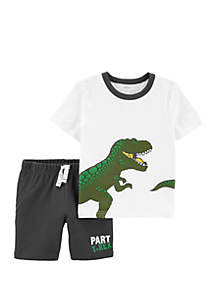 Carter's® Baby Boys 2 Piece T Rex Slub Jersey Tee and French Terry Shorts Set
