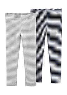 Baby Girls 2-Pack Striped Leggings