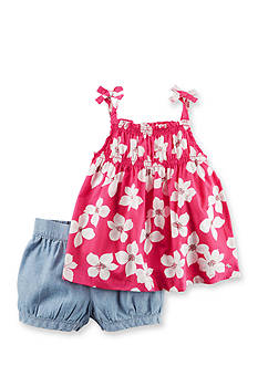 Carter's® 2-Piece Floral Tie Tank and Chambray Bubble Shorts Set