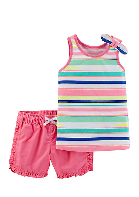 Carter's® 2-Piece Sleeveless Stripe Top and Pink Short