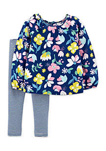 Infant Girls 2-Piece Floral Top And Leggings Set