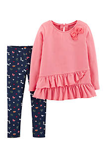 Infant Girls Pink Bow Navy Pants Set