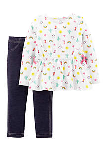 Infant Girls Two-Piece Pink Chambray Bow Pants Set