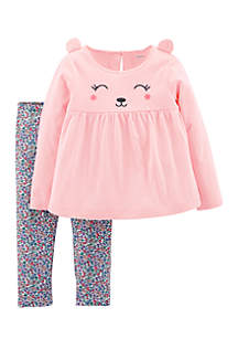 Baby Girls Pink Bear Face Pants Set