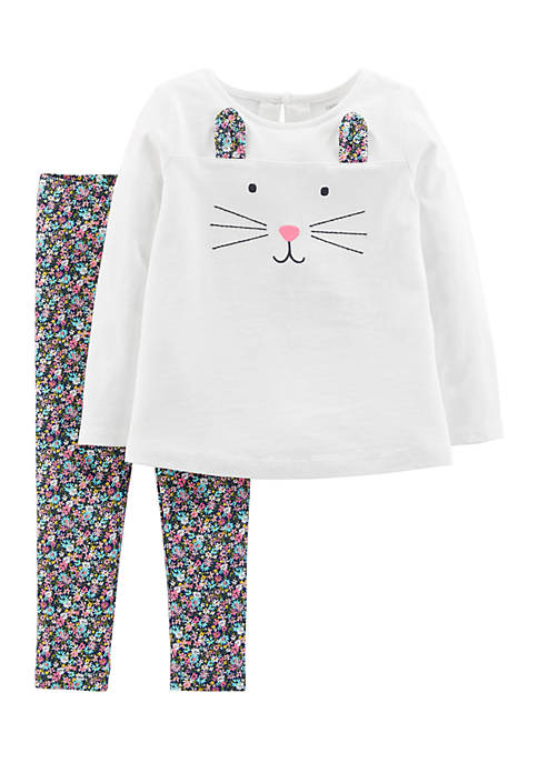 Carter's® Infant Girls Ivory Cat Floral Set