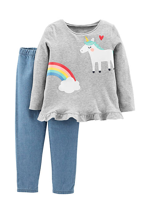 Carter's® Infant Girls Grey Unicorn Two-piece Set