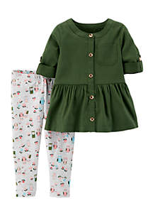 Infant Girls Olive Owl Pants Set