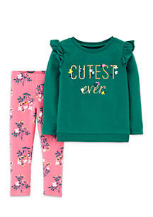 Baby Girls Cutest Ever Tee and Floral Legging Set