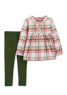 Baby Girls Plaid Flannel and Legging Set
