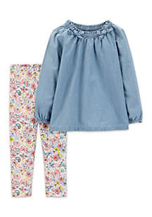 Infant Girls 2-Piece Chambray Top and Floral Pants Set