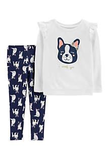 Infant Girls 2-Piece French Bulldog T-shirt and Legging Set