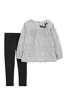 2-Piece Polka Dot Flannel Top and Legging Set