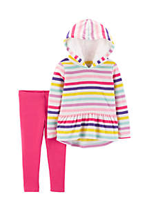 Toddler Girls 2-Piece Striped Fleece Hoodie and Legging Set