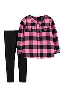 Baby Girls 2-Piece Plaid Flannel Top and Legging Set