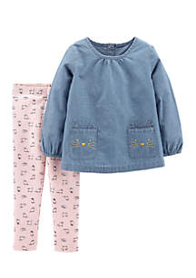 Infant Girls Chambray Kitty Pants Set