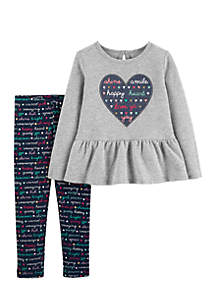 Baby Girls 2-Piece Heart Top and Slogan Legging Set
