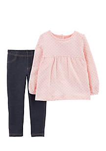 Baby Girls 2-Piece Polka Dot Fleece Top and Jegging Set