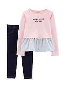 Carter's® Baby Girls Mom's Bestie Peplum Top & Jegging Set