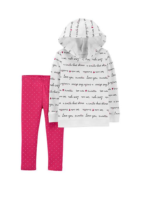 Baby Girls Slogan Hoodie & Polka Dot Legging Set