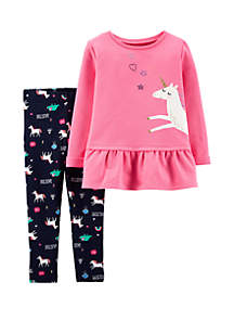 Carter's® Baby Girls Unicorn French Terry Top & Legging Set