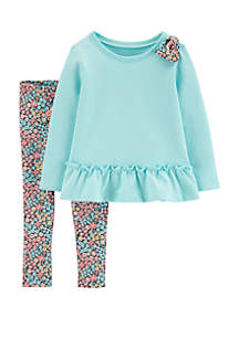 Baby Girls 2-Piece Bow Ruffle Top and Floral Legging Set