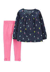 Baby Girls 2-Piece Floral Sateen Top and Legging Set