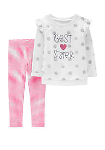 Baby Girls 2-Piece Best Sister Sequin Top and Striped Legging Set