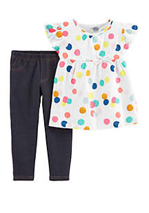 Carter's® Baby Girls Polka Dot Top and Jegging Set