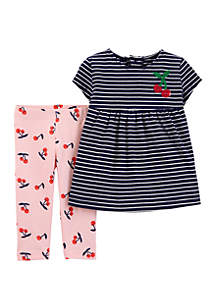 987e2a87bb65 ... Carter s® Baby Girls 2 Piece Striped Jersey Top and Cherry Capri  Legging Set
