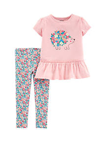 Carter's® Baby Girls 2-Piece Hedgehog Top and Floral Print Set