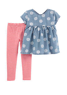 Carter's® Baby Girls 2-Piece Polka Dot Chambray Top and Striped Legging Set
