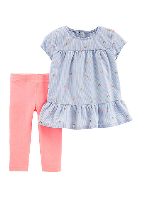 Carter's® Baby Girls Rainbow Peplum Top and Legging