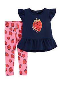 Carter's® Baby Girls Glitter Strawberry Top and Legging Set