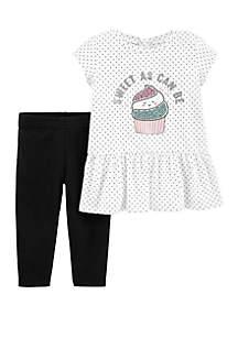 Carter's® Baby Girls Cupcake Peplum Top and Legging Set