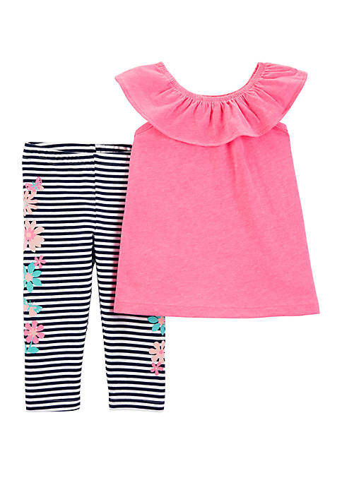 Baby Girls 2 Piece Flutter Scoop Neck Top and Striped Capri Legging Set