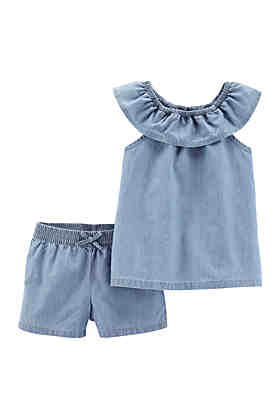 a9754104ac5e0 Carter's® Baby Girls 2 Piece Scoop Neck Chambray Top and Short Set ...