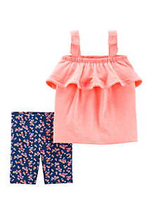 Carter's® Baby Girls 2 Piece Neon Tank and Floral Tumbling Short Set
