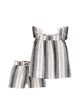df12a83700 Carter's® Baby Girls 2 Piece Striped Flutter Top and Linen Short Set ...