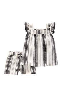 Carter's® Baby Girls 2 Piece Striped Flutter Top and Linen Short Set