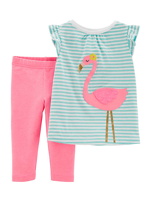Carter's® Baby Girls 2 Piece Flamingo Top and