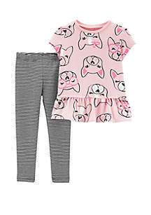 Baby Girls 2 Piece Dog Top and Striped Legging Set