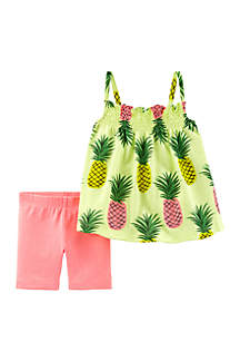 Carter's® Baby Girls 2 Piece Neon Pineapple Tank and Tumbling Shorts Set