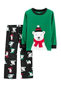 Toddler Girls Christmas Black Sledding Bear Set