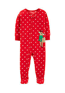 Toddler Girls One-Piece Christmas Fleece Pajamas