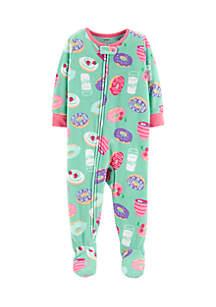 Toddler Girls 1-Piece Donut Fleece PJs