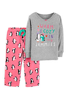 Toddler Girls 2-Piece Penguin Cotton and Fleece PJ Set